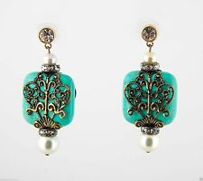 Glynneth B Antique Gold Filigree & turquoise earrings