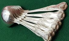 "VINTAGE - SET OF X6 - KINGS PATTERN - SOUP SPOONS - 7"" LONG - SILVER PLATED EPNS"