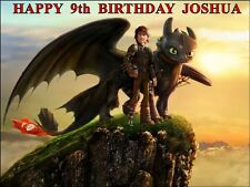 """HOW TO TRAIN YOUR DRAGON  PERSONALIZED 10 x 7.5"""" ICING CAKE TOPPER"""