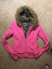 VicToria'S SecreT PINK cabLe-kniT hooded zip-up Faux Fur Lined Small