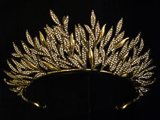 COUTURE DESIGN GOLD LAYERED LEAF SUN CRYSTAL CROWN TIARA - BRIDAL WEDDING STAGE