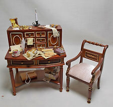 Dolls house miniature Filled Quality Desk and JiaYi Chair