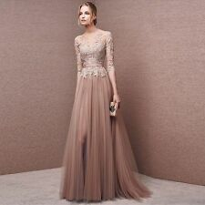 Long sleeves Lace Evening Formal Party Ball Gown Prom Bridesmaid Dress Custom