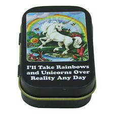 TAKE RAINBOWS & UNICORNS NOT REALITY 1/2 OZ PILL BOX TRINKET TIN RETRO HUMOUR