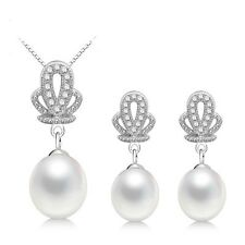 925 Sterling Silver with Freshwater Cultured Pearl Necklace and earrings Set