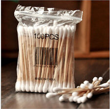 100 Double-head Wooden Cotton Swab Tip For Medical Cure Health Make-up Stick s1