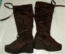 SUZANNE SOMERS CLASSIC PULL-ON BROWN BOOTS KNEE HIGH SIZE 8 wedge Tie up stylish