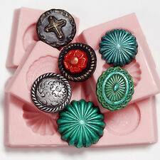 Western Concho Silicone Button Molds Set 6 flexible easy to use molds  (261)