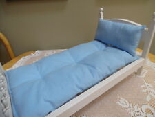 "Soft Blue FLANNEL ""Mattress/Pillow"" made for 18 Inch Doll Beds"
