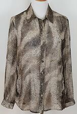 Chico 1 Blouse Sheer Long Sleeve Button Front Multi Color Animal Print Polyester