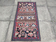 Old Traditional Hand Made Persian Oriental Patchwork Wool Colourful Rug 132x68cm