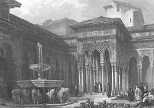 SPAIN, Alhambra Palace COURT OF LIONS ~ DAVID ROBERTS 1835 Engraving Print RARE!