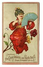 Victorian Trade Card GREAT ATLANTIC & PACIFIC TEA Chinese Woman w Fan