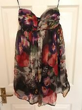 Lipsy Floral Multi-Coloured Silk Dress - Size 8