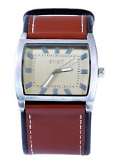 Spirit Men's Watch Square Face Maroon PU Leather Strap Analog Quartz Wrist Watch