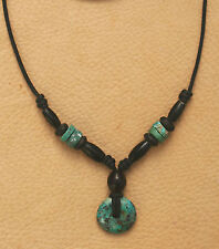TURQUOISE NECKLACE GENUINE GEMSTONE CARVED DONUT HORN SILVER CORD BEAD SURFER