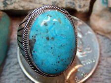 Mens New Sterling Kingman Turquoise Ring Navajo Russel Sam Size 10 1/2
