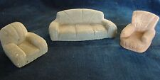 Rare ca 1940s Vtg Flocked Chalkware Sofa & Easy Chairs Dollhouse Furniture