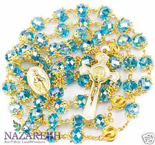 High Quality St. Benedict Gold Plated With Light Blue Crystal Miraculous Rosary