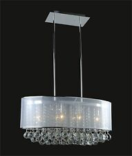 "CHROME 6-Light Crystal CHANDELIER + Light SHADE (L26"" x W13"" x H11"") Adjustable"