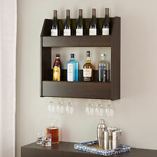 Wood Wall Wine Rack Mounted Floating Bottle Holder Glass Storage Wood Bar Shelf