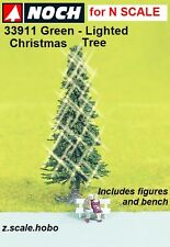 "NOCH 33911 N Scale Green Lighted Christmas Tree 2""-Tall Figures NEW $0 Shipping"