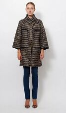 100% Auth Chanel 11A Byzance Black Gold Metallic Cashmere Wool Cardigan Coat 42