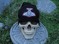 goat hammer 2 color embroiderd beanie hat thors hammer asatru norse
