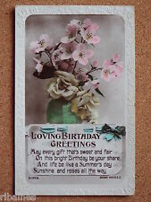 R&L Postcard: Birthday Greetings, Vase of Flowers, Tinted Real Photo