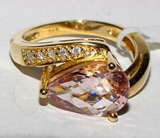 Lovely 14K Yellow Gold 5 Diamond 2Ct Pear KUNZITE Ring Size 6.5 New Heavy 5.2Gr