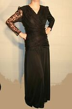 S-M VTG 80s BLACK LACE RUCHED WRAP BODICE  BEADED PALAZZO PANTS DISCO JUMPSUIT