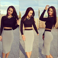 Sexy Crop Top Midi Pencil Skirt High Waist 2 Piece Bodycon Bandage Dress Set