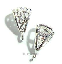1 Sterling Silver Bail flower pendant clasp slide Connector 12MM