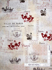 Rooster Animal Fabric - Chicken Hen Paris French Country Roosters #25526- Yard