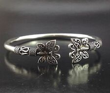 Adorable Artisan Sterling Silver 925 Bangle Open Cuff Butterfly Jewelry Bracelet