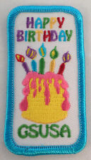 Girl Scout Gs Vintage Uniform Patch Happy Birthday Gs Usa Cake Candles   #Gsbl