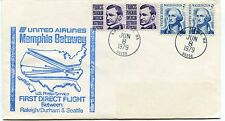 FFC 1979 First Flight United Airlines Raleigh/Durham & Seattle Memphis Gateway