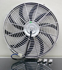"16"" Chrome Universal Super Thin Electric Cooling Fan, Reversible - 12V"