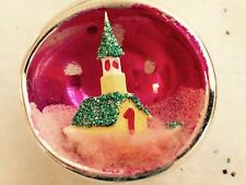 RARE! PINK INDENT MERCURY GLASS DIORAMA XMAS ORNAMENT GLITTER ON CHURCH JAPAN