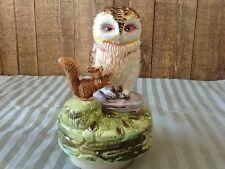 Old Brown Owl & Squirrel Nutkin (Beatrix Potter) Schmid Musical Figurine - 1977