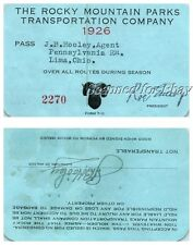 1926 Touring Car Rocky Mountains Transportation Park Bus Railroad Pass Ticket