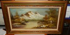 G.WHITMAN SNOW MOUNTAIN RIVER LANDSCAPE ORIGINAL OIL ON CANVAS PAINTING