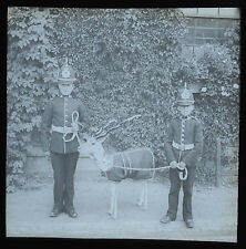 Real Photo Magic Lantern Slide Military Boy Soldiers Regimental Mascot c1900