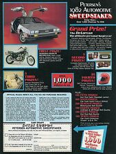 1982 Petersen Automotive Sweepstakes DeLorean Kawasaki KZ550LTD Motorcycle Ad