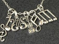 "Violin Music Notes Charm Tibetan Silver with 18"" Necklace BIN"