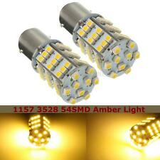 Pair 1157 BAY15 3528 54SMD Amber LED Front Turn Signal Light Bulbs Lamp DC 12V