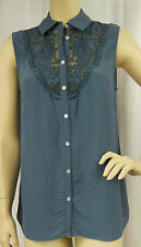 Rockmans Grey Lace Trim Sleeveless Polyester Tunic Top Shirt Size 10 BNWOT # Y94