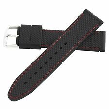 Hadley-Roma 22mm Red Mens Stitched Silicone Diver Watch Band Strap 22mm MS3315