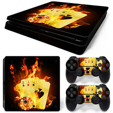 Sony PS4 Playstation 4 Slim Skin Aufkleber Schutzfolie Set - Burning Cards Motiv