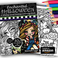 Enchanted Halloween Fantasy Adult Coloring Book Fairy Witch Cat Hannah Lynn Art